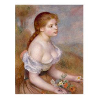 Cartão Postal Uma rapariga com margaridas - Pierre-Auguste