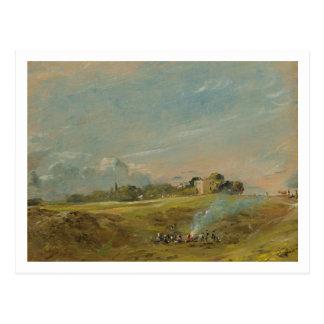 Cartão Postal Uma vista da charneca de Hampstead, com figuras