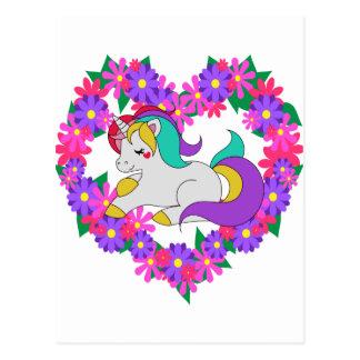 Cartão Postal unicórnio bonito do arco-íris