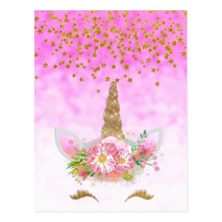 Cartão Postal Unicórnio cor-de-rosa das estrelas da fantasia e