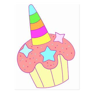 Cartão Postal unicórnio do cupcake