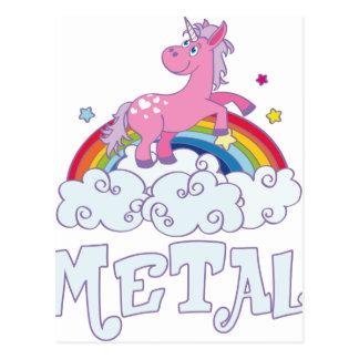 Cartão Postal Unicórnio do metal