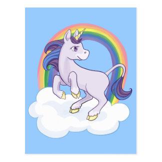 Cartão Postal Unicórnio mágico bonito do arco-íris