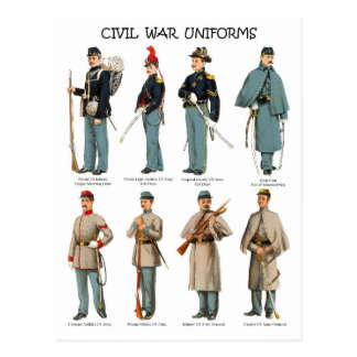 Cartão Postal Uniformes americanos da guerra civil