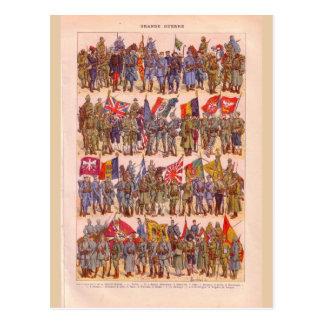 Cartão Postal Uniformes do vintage da primeira guerra mundial