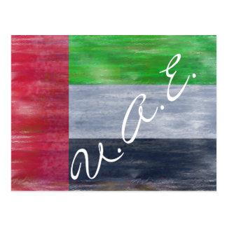 Cartão Postal United Arab Emirates afligiram a bandeira dos UAE
