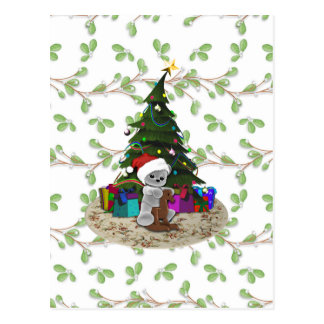 Cartão Postal Ursinho da árvore de Natal