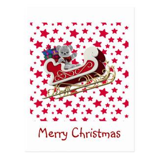 Cartão Postal Ursinho do trenó do Natal