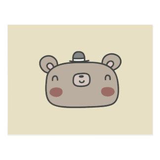 Cartão Postal Urso amigável com chapéu