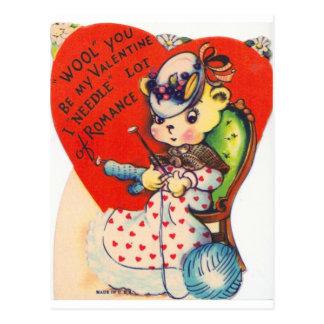 Cartão Postal Urso de confecção de malhas dos namorados do