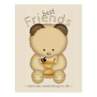 Cartão Postal Urso de mel bonito dos melhores amigos