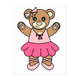 Cartão Postal Urso de ursinho bonito da dança da bailarina -