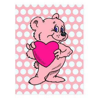 Cartão Postal Urso de ursinho cor-de-rosa