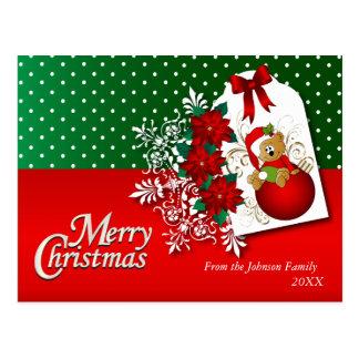 Cartão Postal Urso de ursinho do feriado do Feliz Natal