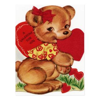Cartão Postal Urso de ursinho dos namorados do vintage