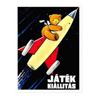 Cartão Postal Urso de ursinho em um brinquedo húngaro do vintage
