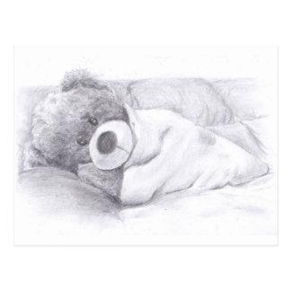 Cartão Postal Urso de ursinho preguiçoso, sonolento