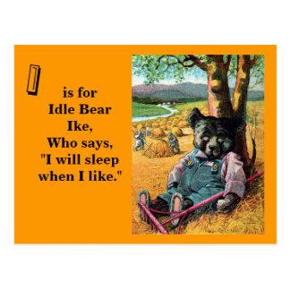 Cartão Postal Urso inativo Ike - letra mim - urso de ursinho do