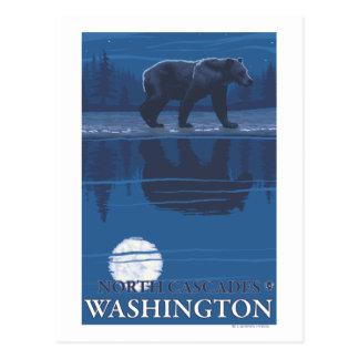 Cartão Postal Urso no luar - cascatas nortes, Washington