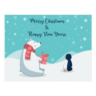 Cartão Postal Urso polar & pinguim!
