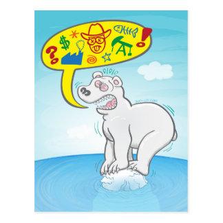 Cartão Postal Urso polar que diz as palavras más que estão no