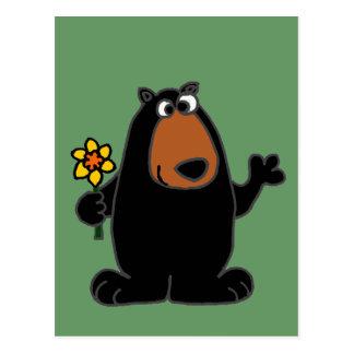 Cartão Postal Urso preto bonito com desenhos animados do
