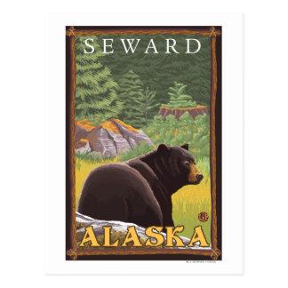 Cartão Postal Urso preto na floresta - Seward, Alaska