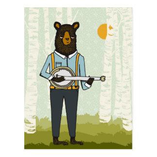 Cartão Postal Urso que joga o banjo