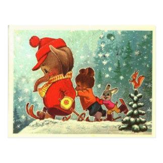 Cartão Postal Ursos de ursinho, bearly divertimento na neve,