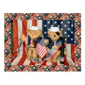 Cartão Postal Ursos de ursinho, bearly veteranos, patriótico