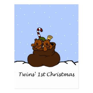 Cartão Postal ursos do gêmeo no saco de Santa