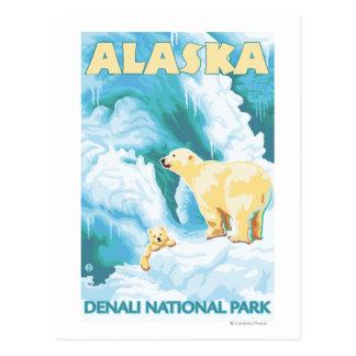 Cartão Postal Ursos polares & Cub - parque nacional de Denali,