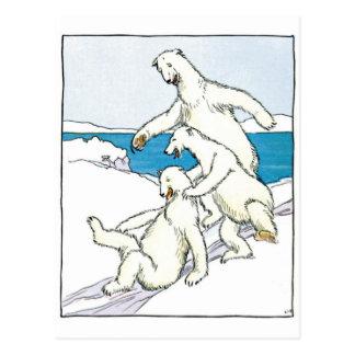 Cartão Postal Ursos polares engraçados do vintage