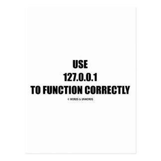 Cartão Postal Use 127.0.0.1 para funcionar corretamente (ELE o