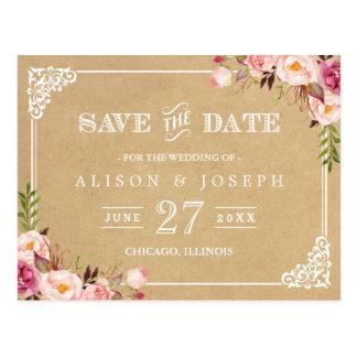 Cartão Postal (USPS) Economias florais rústicas do casamento de