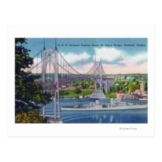 Cartão Postal USS Portland que passa sob a ponte de St John