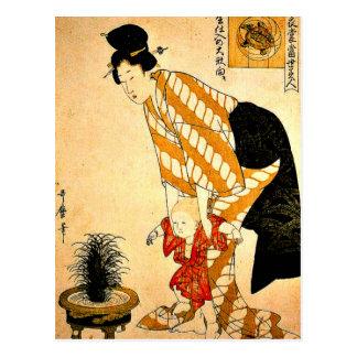 Cartão Postal Utamaro - algodão modelado flor