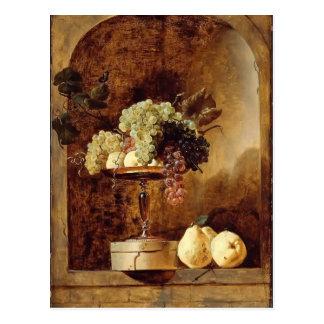 Cartão Postal Uvas, pêssegos, marmelos em uma ameia por Frans