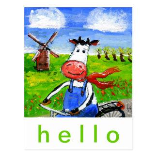 Cartão Postal Vaca Biking
