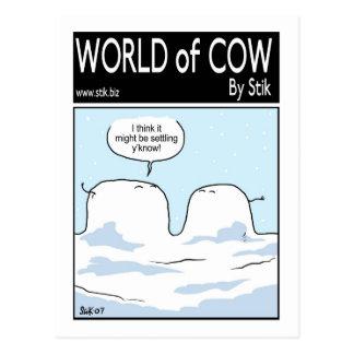 Cartão Postal Vaca coberto de neve