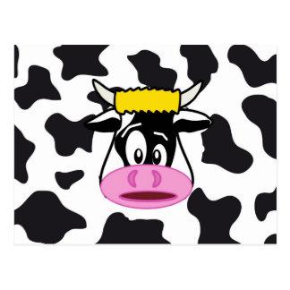 Cartão Postal Vaca louca engraçada Bull no teste padrão do