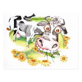 Cartão Postal Vaca surpreendida dos desenhos animados que pasta