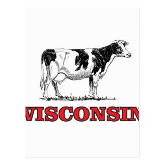 Cartão Postal vaca vermelha de Wisconsin
