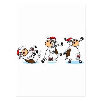 Cartão Postal Vacas de Breakdancing no Natal