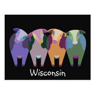 Cartão Postal Vacas do abstrato da fazenda de Wisconsin