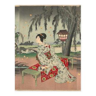 Cartão Postal Vaga-lume em uma casa de campo por Toyohara