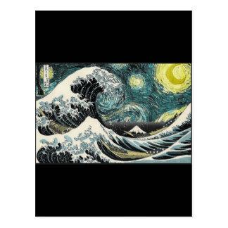 Cartão Postal Van Gogh a noite estrelado - Hokusai a grande onda
