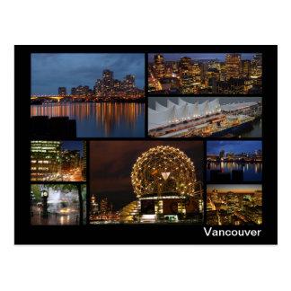 Cartão Postal Vancôver na multi-imagem da noite