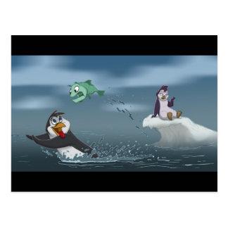 """Cartão Postal """"Vão o pinguim w/Background dos peixes"""""""