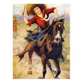 Cartão Postal Vaqueira ocidental do vintage no cavalo